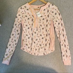 Brand New Free People Pink Floral Long Sleeve